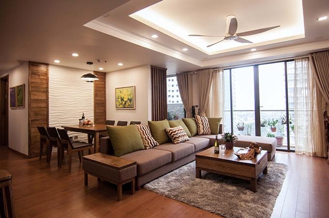 Phòng khách - phòng sinh hoạt chung nhà chung cư 120m2