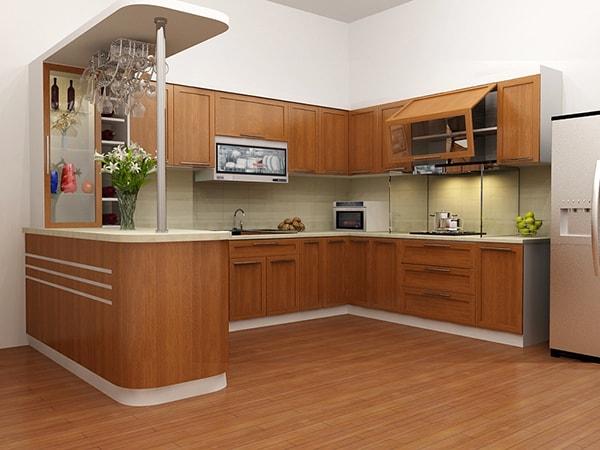 Không gian phòng bếp nhà chung cư 120m2