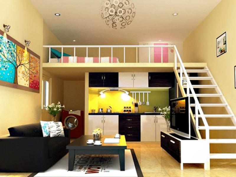 Để tiết kiệm không gian, nhiều căn nhà thiết kế phòng ngủ trên bếp