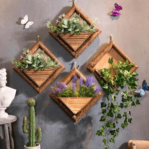Ý tưởng trang trí phòng làm việc bằng hoa tươi sử dụng hộp gỗ