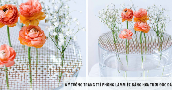 8 ý tưởng trang trí phòng làm việc bằng hoa tươi độc đáo