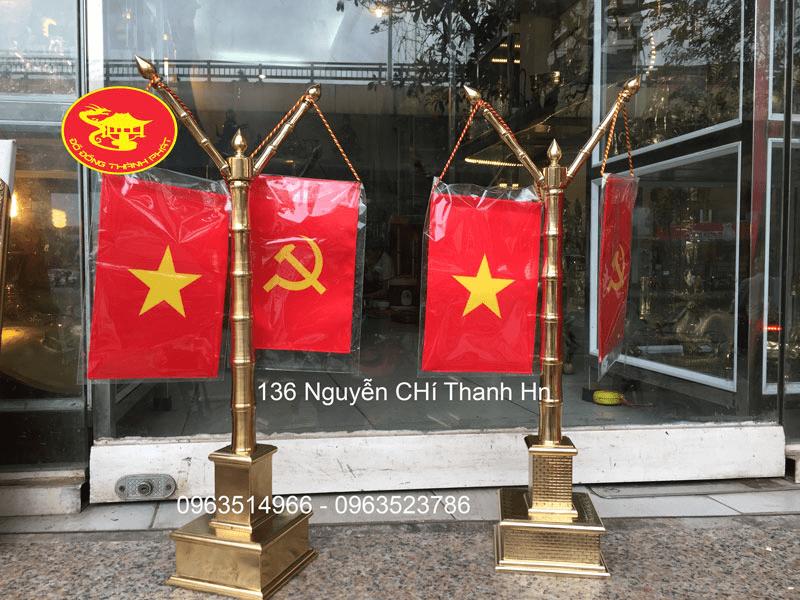 Cột cờ thân trúc tay kép đẹp